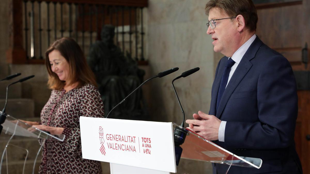 La presidenta balear, Francina Armengol, junto al president de la Generalitat, Ximo Puig.