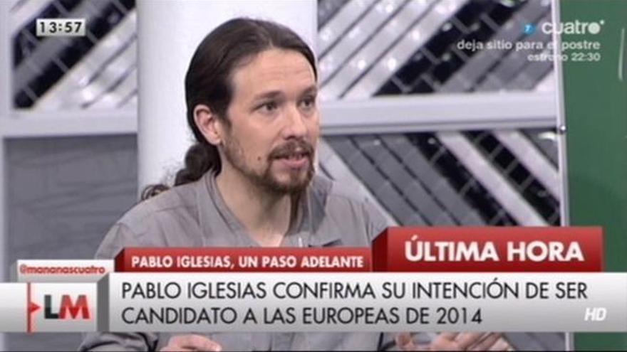 Pablo Iglesias en uno de los programas de televisión en el que colabora, anunciando su candidatura a las europeas