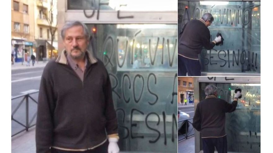Willy Meyer ha limpiado este domingo la pintada que llama 'asesino' al poeta Marcos Ana