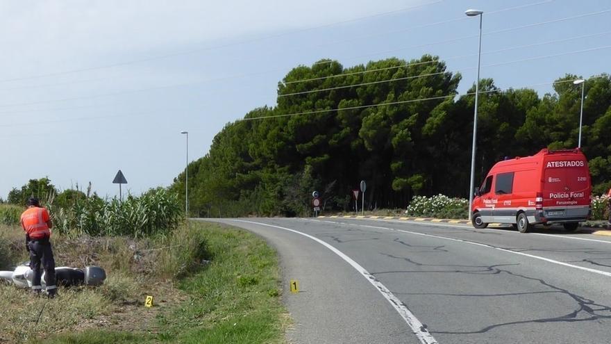 Herido grave un motorista al salirse de la vía en Tudela
