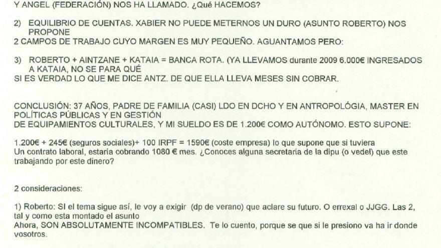 Correo electrónico enviado por Iñaki San Juan a la cuenta oficial de la Diputación de Alfredo de Miguel sobre la situación de la empresa