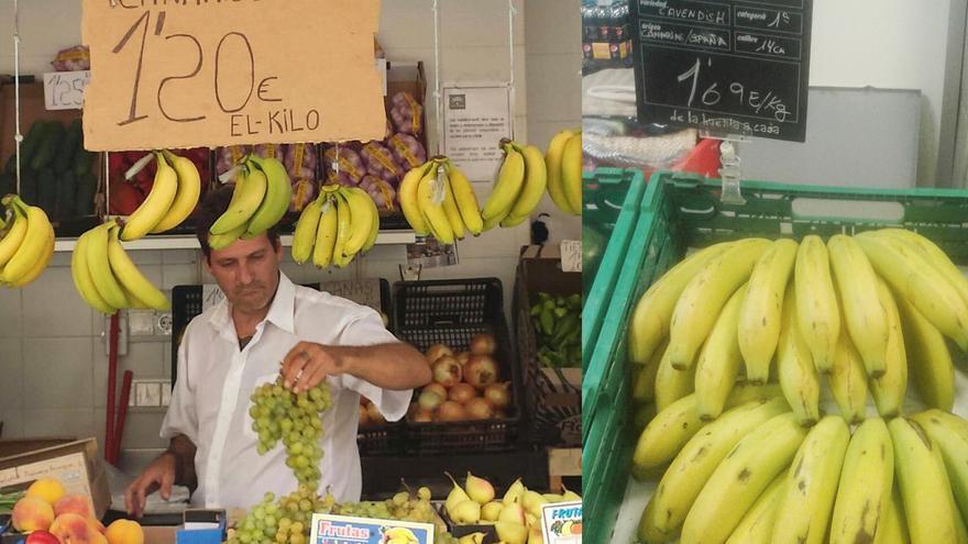 El plátano isleño expuesto en las dos tiendas. A la derecha, el tinerfeño; al otro lado, el de Cádiz.