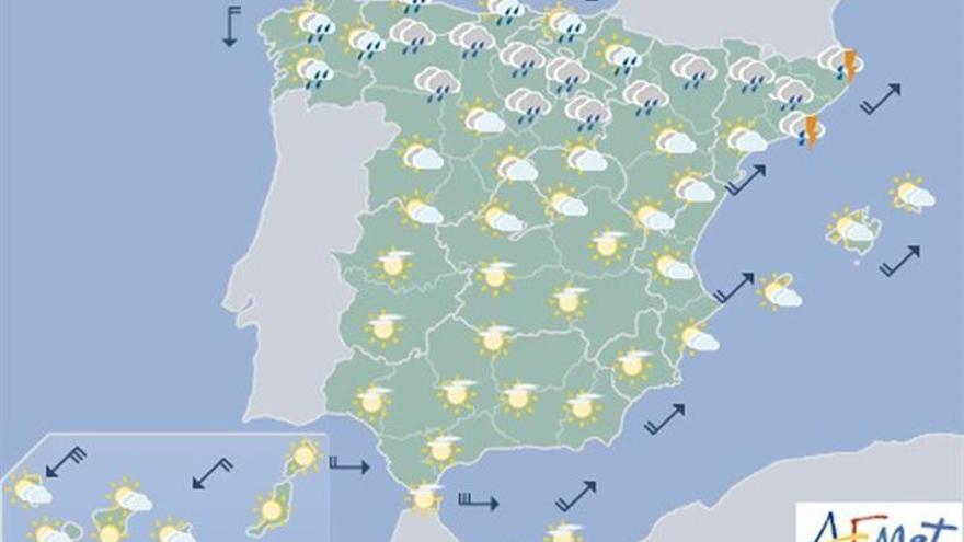 Un frente atlántico dejará hoy lluvias intensas y acusado descenso térmico