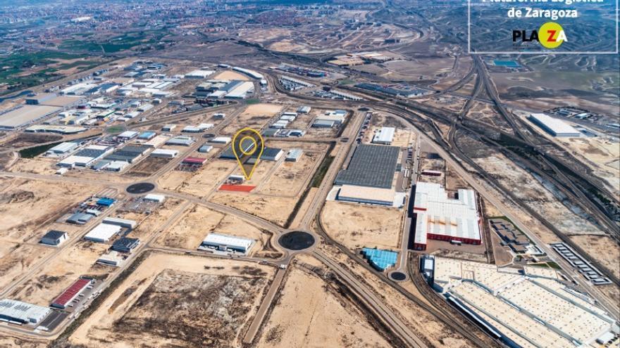 Imagen aérea de la Plataforma Logística de Zaragoza - PLAZA donde se construirá la nueva nave de DHL Express.
