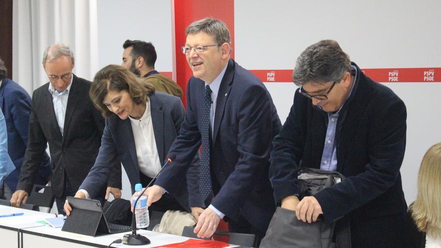 Ciprià Císcar, Ana Botella, Ximo Puig y Alfred Boix en la Ejecutiva Nacional del PSPV-PSOE de este martes
