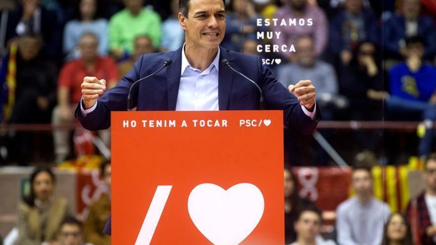 Pedro Sánchez en un mitin de campaña.
