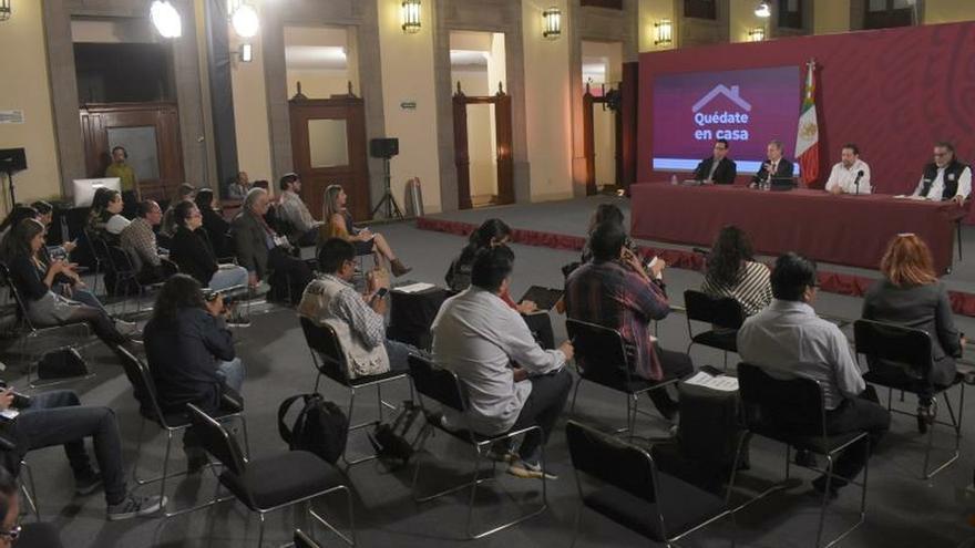 Vista general durante una conferencia de prensa este miércoles en Palacio Nacional en la Ciudad de México (México).