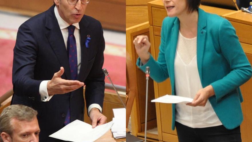 Alberto Núñez Feijóo y Ana Pontón, en el Parlamento gallego