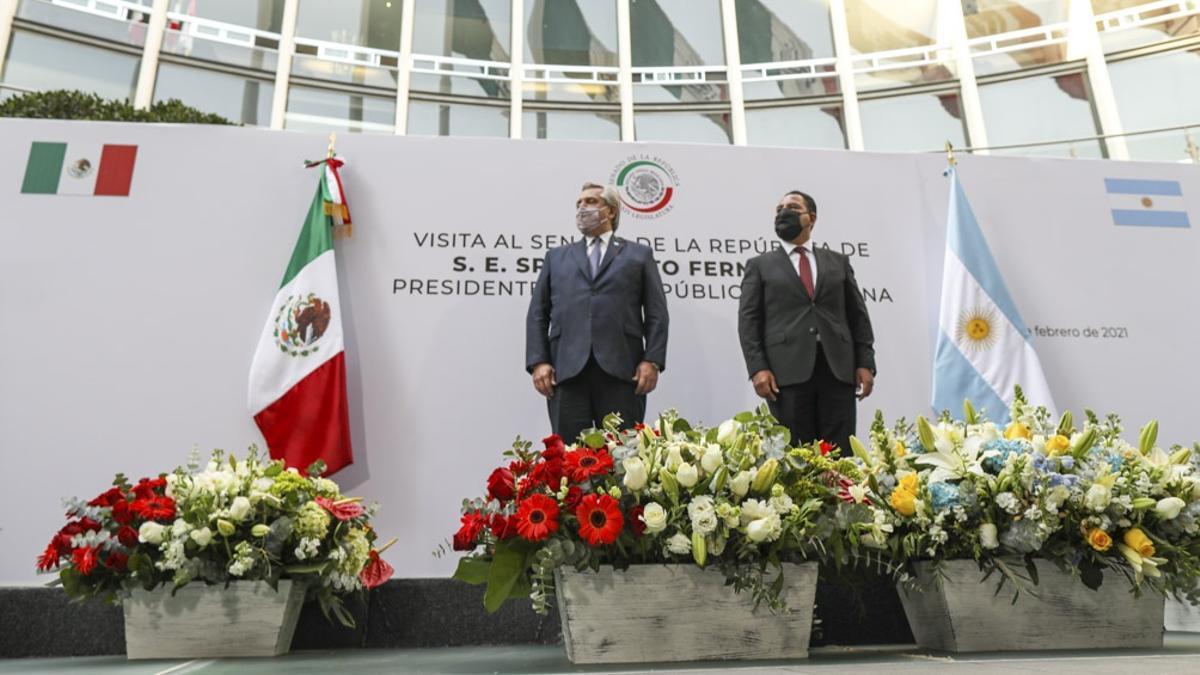 Alberto Fernández visitó el Senado de México este miércoles 24 de febrero de 2021.