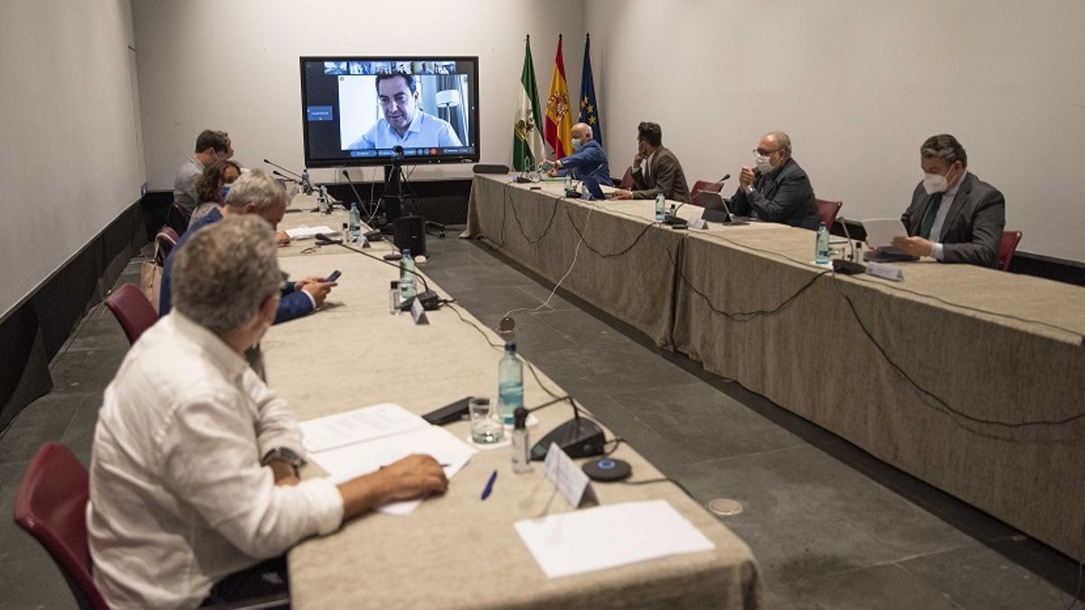 Reunión celebrada esta tarde en el Palacio de San Telmo de Sevilla por el Comité Regional de Alertas de Alto Impacto en Salud Pública