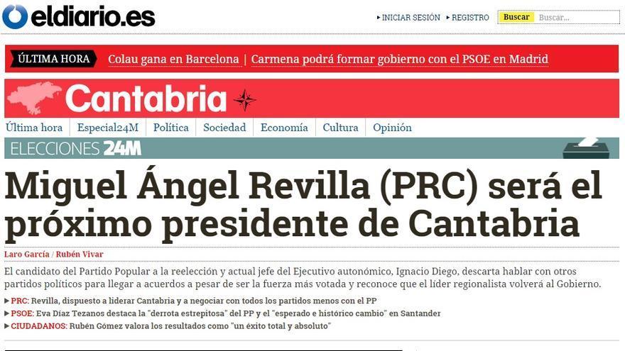 Portada de eldiario.es tras los resultados del 24M en Cantabria.