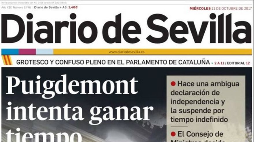 Portada de El Diario de Sevilla del 11 de octubre de 2017.
