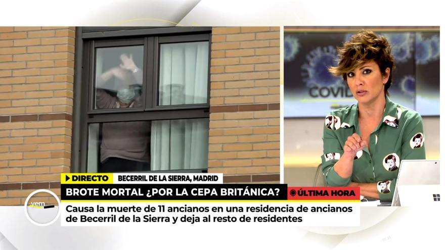 Sonsoles Ónega se emociona en directo con una anciana aislada en la residencia de Becerril