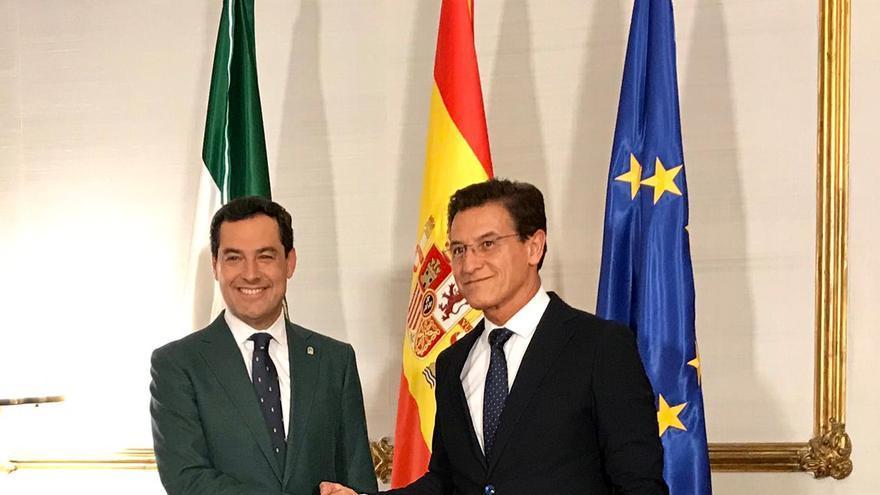Juanma Moreno y Luis Salvador tras reunirse en San Telmo