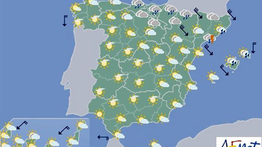 El cielo estará hoy cubierto en el noreste y nevará en Pirineos