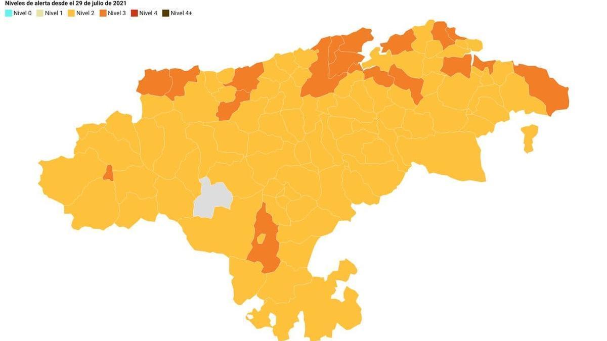 Mapa semáforo COVID de Cantabria a 27 de julio.