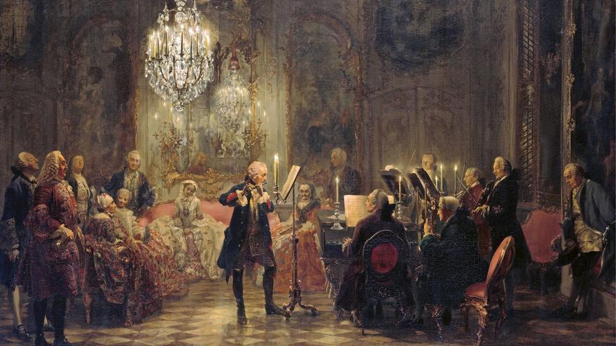 Federico II tocando la flauta travesera en un concierto en el palacio de Sanssouci. Óleo por A. A. von Henzel. Siglo XIX.