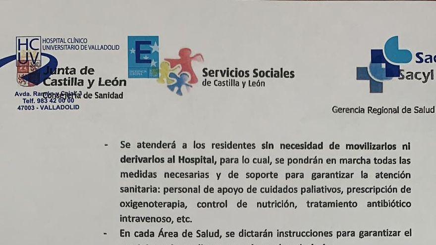Documento de la Consejería de Sanidad donde se indica que no se trasladará a los ancianos de las residencias a centros hospitalarios.