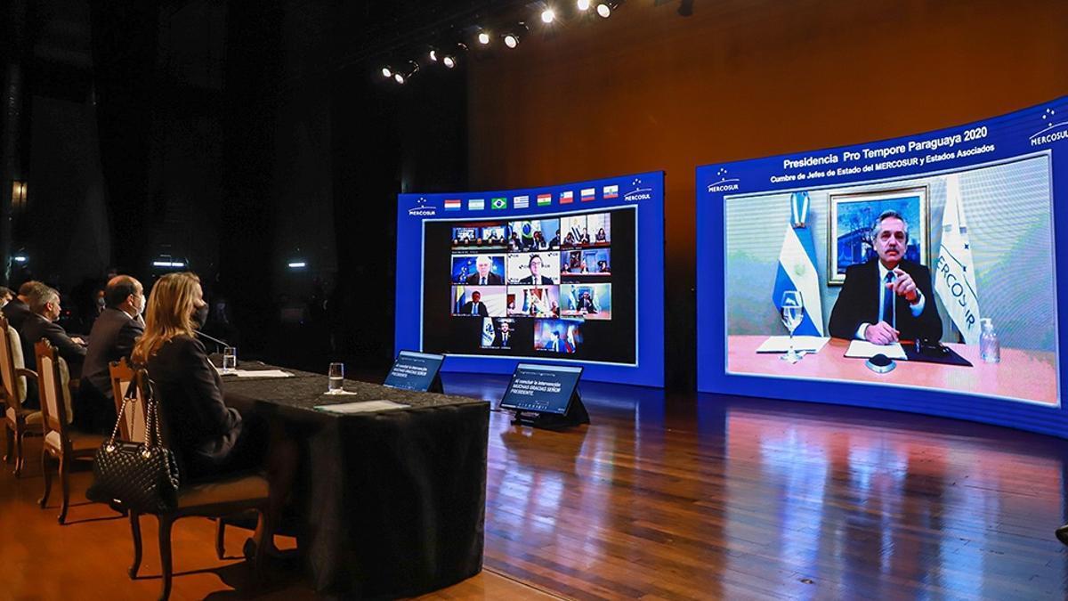 Cumbre presidencial virtual del Mercosur en julio pasado, con epicentro en Asunción.