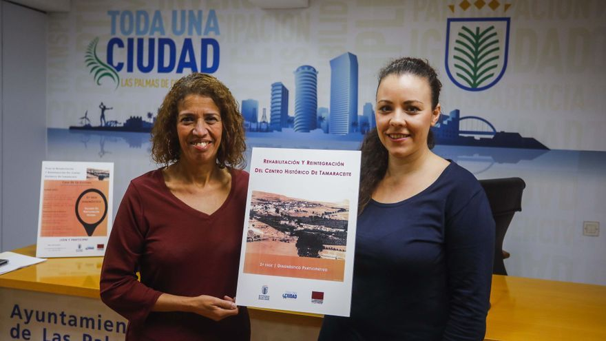 La concejala Mercedes Sanz y la geógrafa Itahisa Chávez