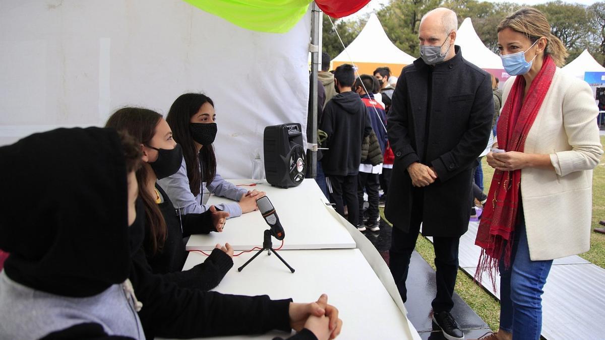Larreta en el evento de Innova, junto a la ministra de Educación Soledad Acuña.