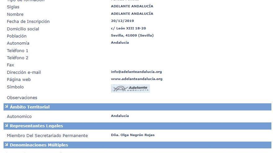Imagen del registro como partido de Adelante Andalucía ante el Ministerio del Interior.