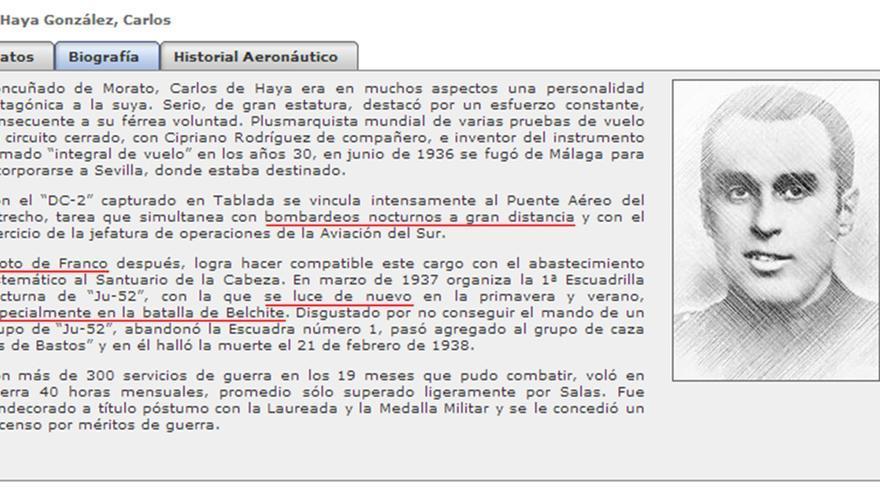 """El """"piloto de Franco"""", Carlos de Haya."""