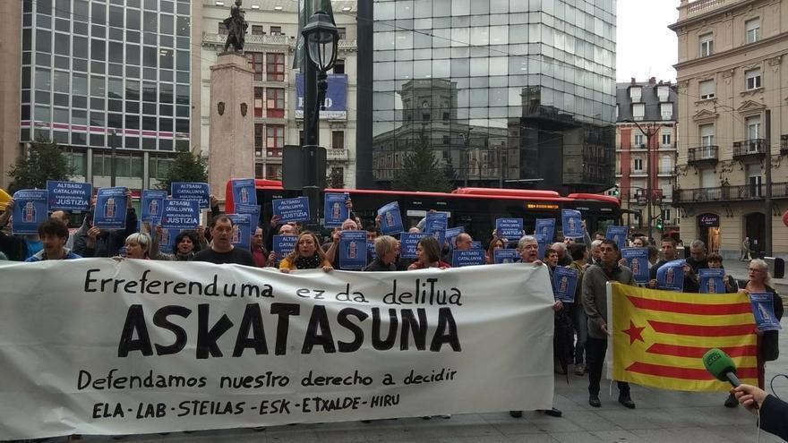Más de 200 movilizaciones convocadas por sindicatos nacionalistas denuncian en Euskadi y Navarra la sentencia del procés