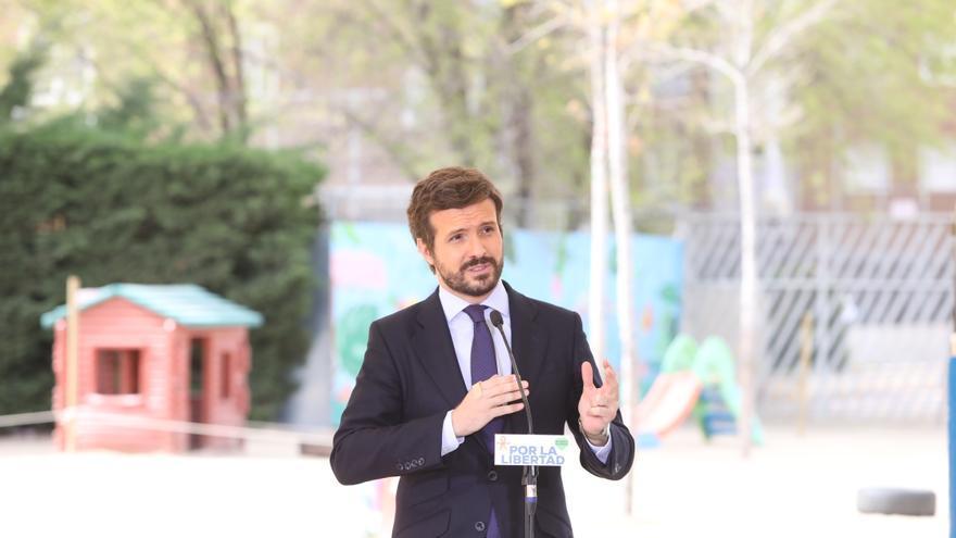 El presidente del Partido Popular, Pablo Casado, presenta el recurso de inconstitucionalidad contra la nueva Ley de Educación, conocida como 'ley Celaá', en el Colegio Internacional J. H. Newman, Madrid (España) a 29 de marzo de 2021.