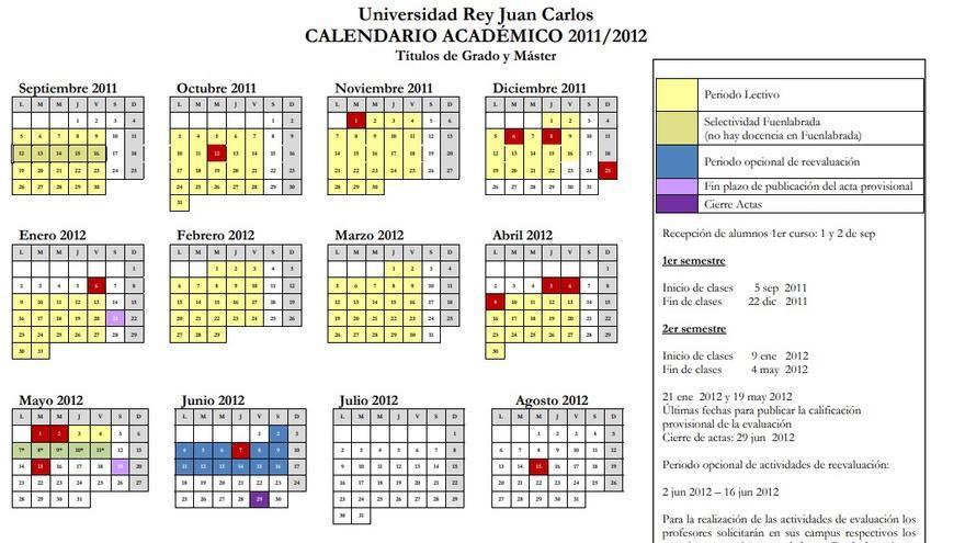 Calendario académico de la URJC del año 2011-2012