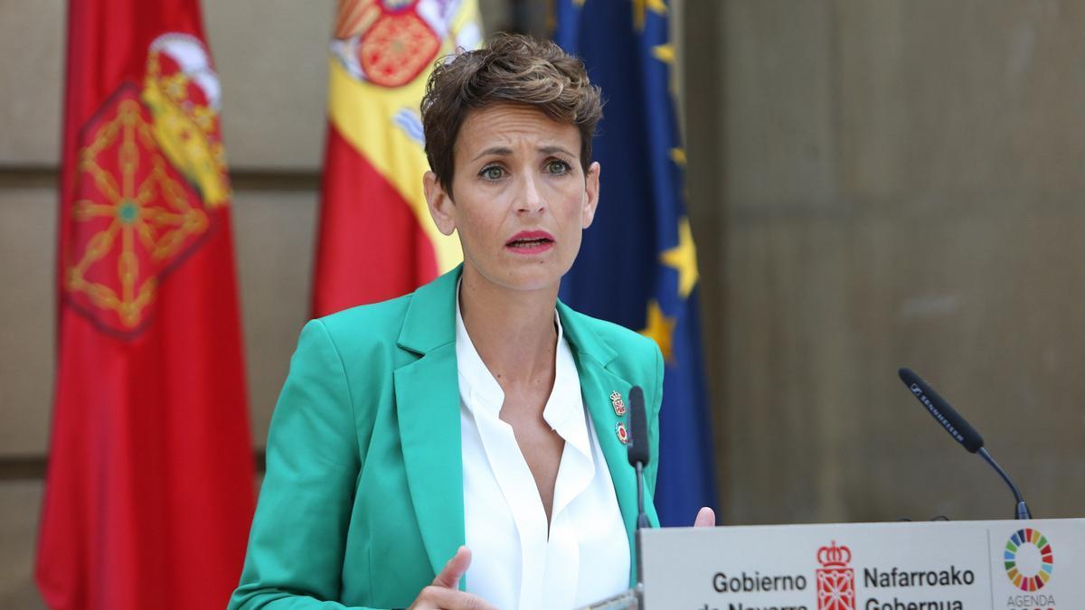 La presidenta María Chivite en la comparecencia de este martes