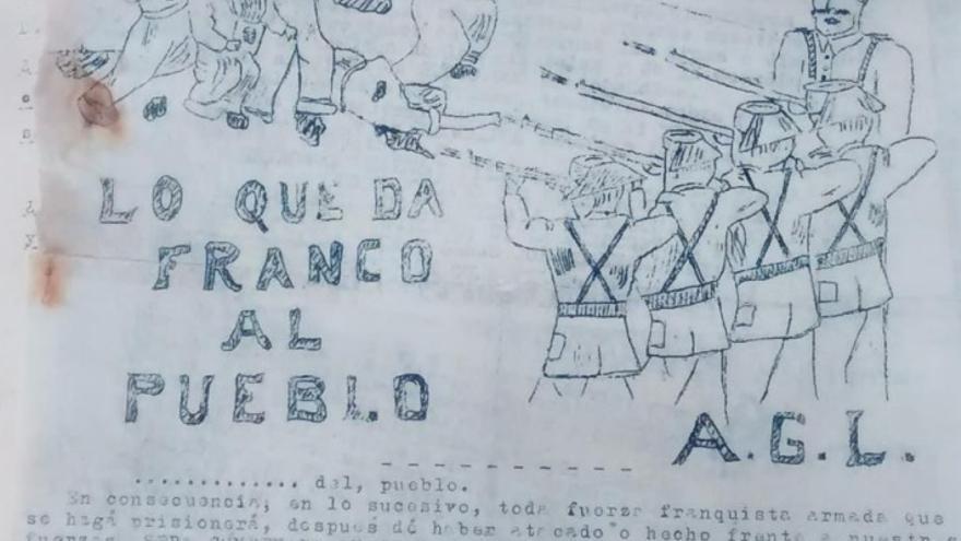 """Folleto propagandístico elaborado por el AGLA. Imagen contenida en la tesis doctoral """"Entre la resistencia y la supervivencia"""" de Raül González Devís."""