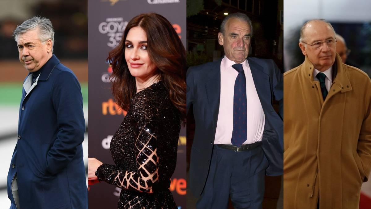 El nuevo entrenador del Real Madrid, Carlo Ancelotti; el exbanquero Mario Conde; la actriz Paz Vega y el expresidente de Bankia Rodrigo Rato