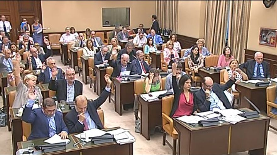 Imagen de la comisión de cultura debidamente fusilada del vídeo de su sesión y sacada de eldiario.es