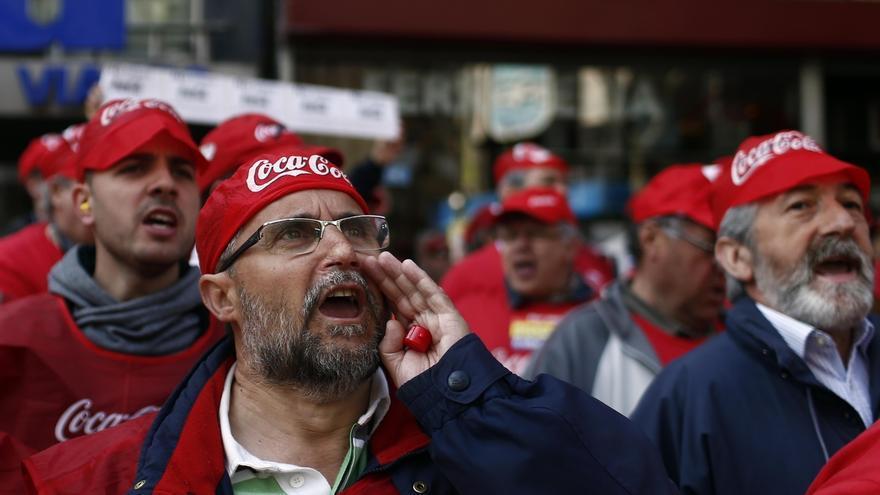 Protesta de los trabajadores de Coca Cola. EUROPA PRESS