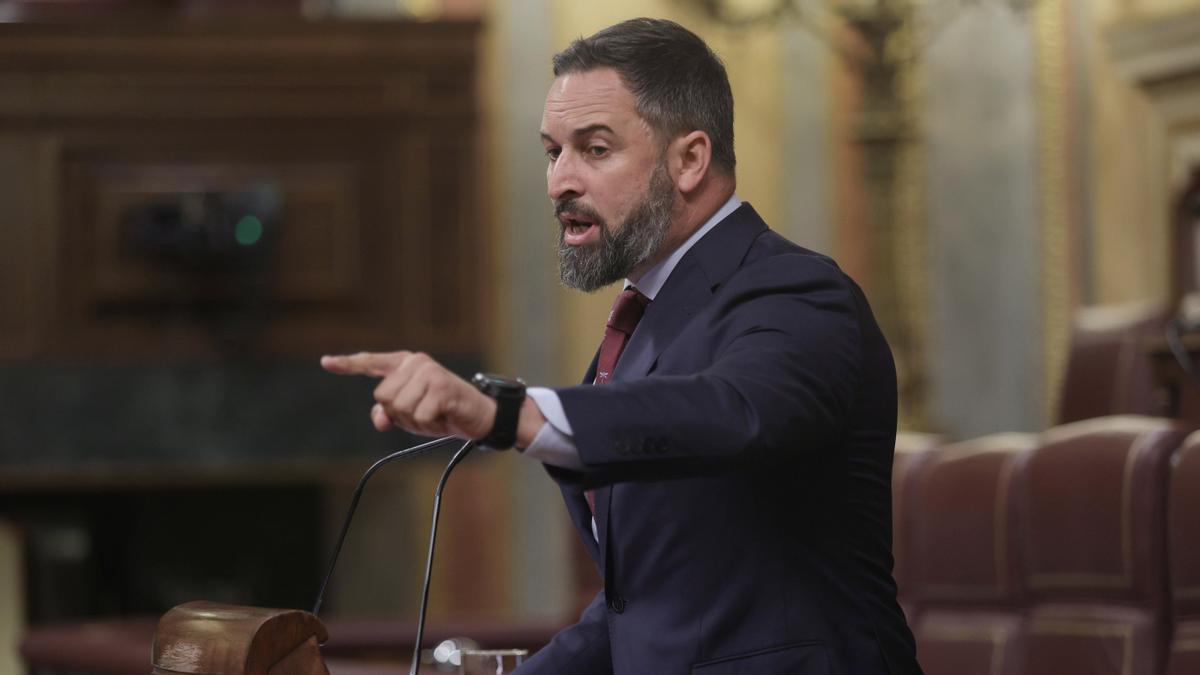 El líder de Vox, Santiago Abascal, interviene en una sesión de control al Gobierno en el Congreso