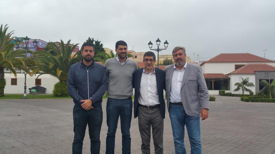 Borja Perdomo (i), Daniel Rodríguez, Paxti López y Jorge González en Breña Alta. Foto: LUZ RODRÍGUEZ.