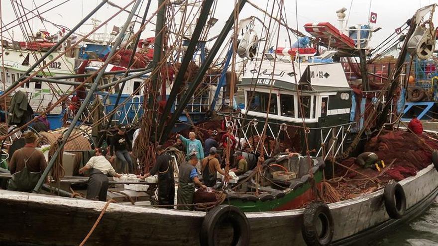 Barco pesquero marroquí en el puerto de Dajla (Marruecos).