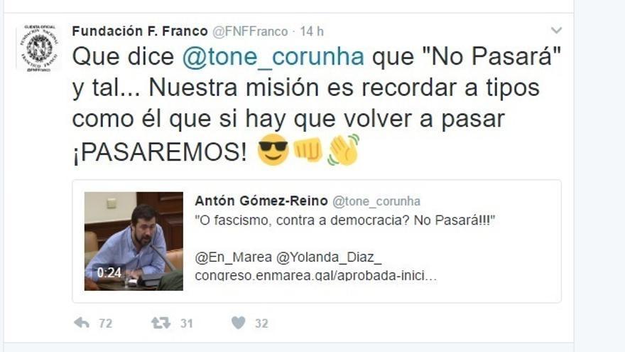 """La Fundación Franco replica al diputado del """"No pasarán"""": """"Si hay que volver a pasar ¡Pasaremos!"""""""