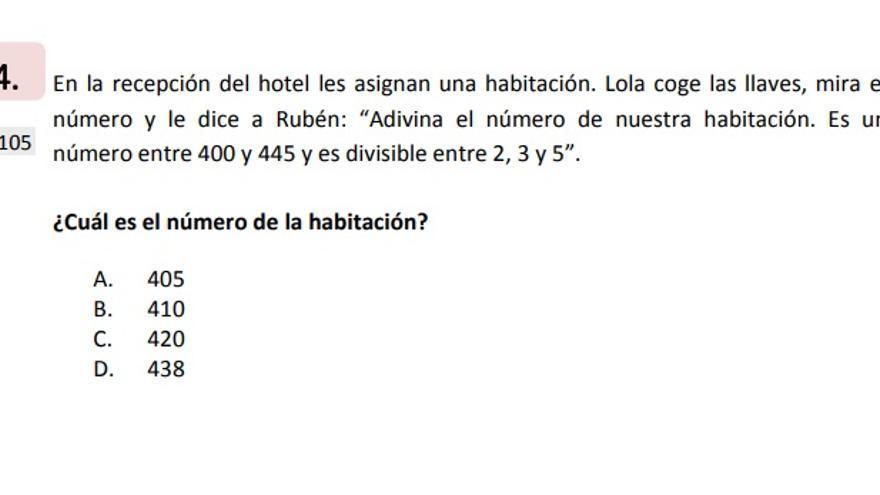 Ejemplo de la prueba de competencia matemática de 6º de Primaria.