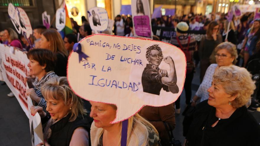 Manifestación por el 8 de marzo en 2017 en Las Palmas de Gran Canaria.