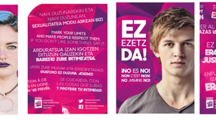 El Ayuntamiento de San Sebastián ha puesto en marcha la campaña '!NO es NO!' con el objetivo de evitar las agresiones sexistas en fiestas.