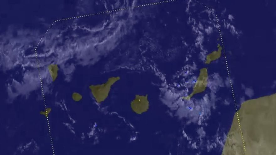 """Imagen de la Aemet del """"frente muy roto"""" que atravesará Canarias este miércoles"""