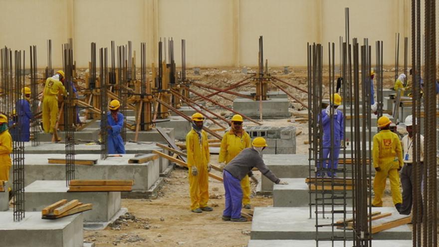 Trabajadores migrantes de la construcción en Doha, marzo 2013 © Amnesty International