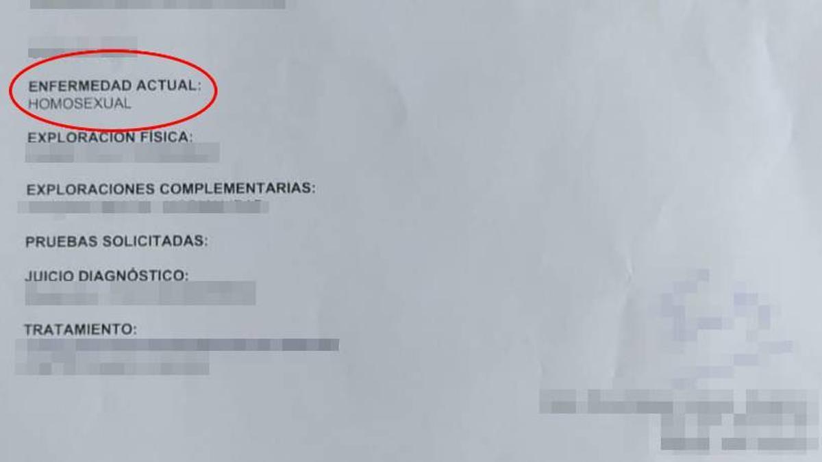 Fragmento del informe médico entregado a la paciente tras la consulta ginecológica