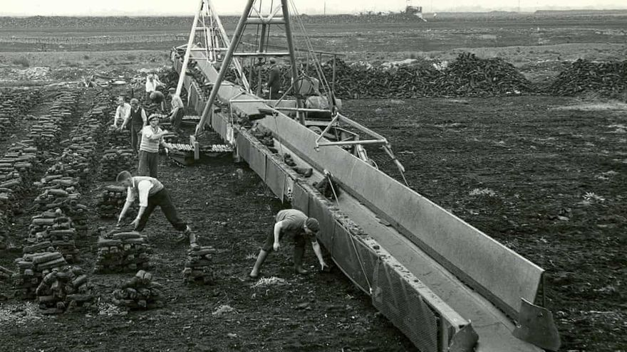 Trabajadores de Bord na Móna en turberas en 1950