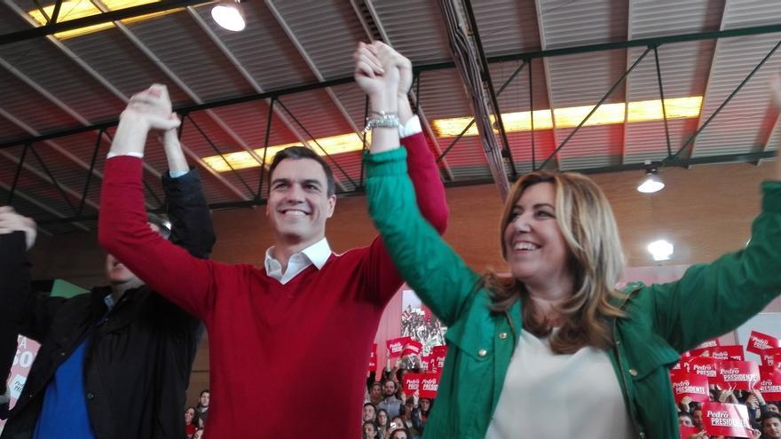 """Pedro Sánchez se va de Sevilla con las """"pilas cargadas"""" y el apoyo de Susana Díaz: """"Te necesito ahí"""""""