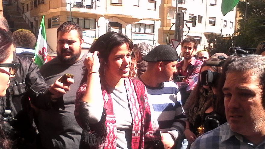Teresa Rodríguez en la manifestación en apoyo a Andrés Bódalo.