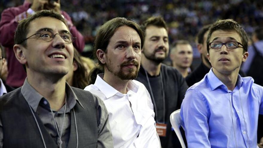 dirigentes de Podemos: Monedero, Iglesias y Errejón