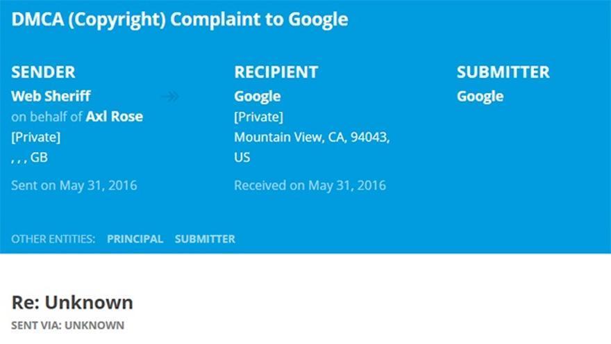 Una de las peticiones para desindexar la foto de Axl Rose dirigida a Google